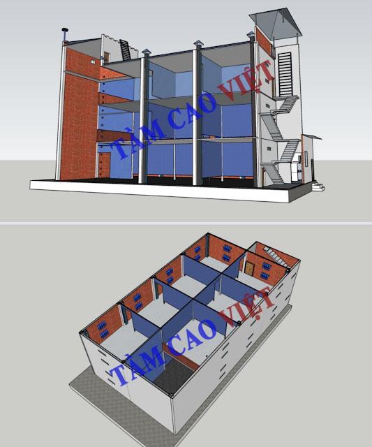 Bản vẽ thiết kế mô hình nhà nuôi yến 10x20x3 dành cho tỉnh An Giang
