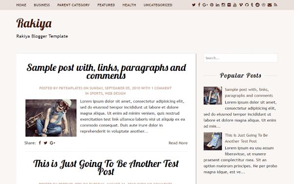 Rakiya Free Blogger Template