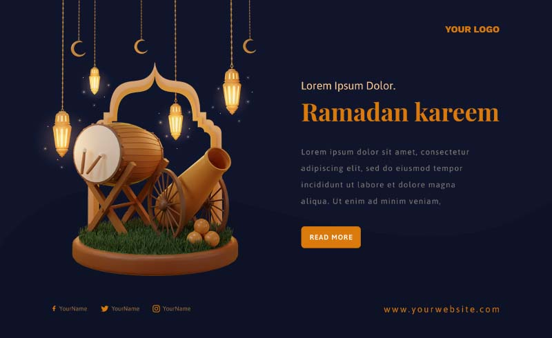 Ramadan Kareem 2021 3D Banner PSD Template
