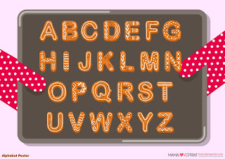 Mama Love Print Printable - A to Z 英文字母早教海報和字卡 ( 動物卡通 )  Alphabet with Animals Cartoon Posters and Flash Cards Free Download Freebies Printable