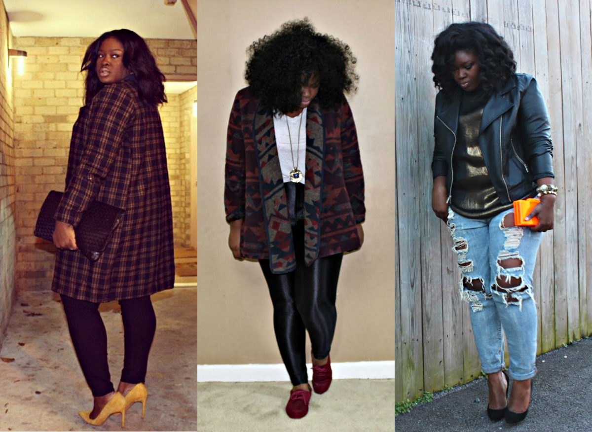 hm plaid coat , forever21 plus jacket, american apparel disco pants, plus size,