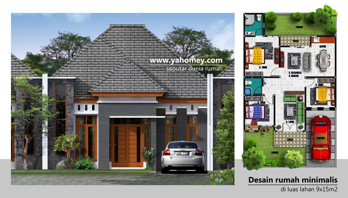 Denah Rumah Minimalis 1 Lantai Ukuran 9x15  Desain Rumah Minimalis