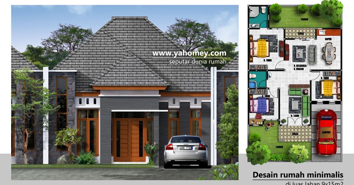 Denah Rumah Minimalis 1 Lantai Ukuran 9x15 | Desain Rumah Minimalis