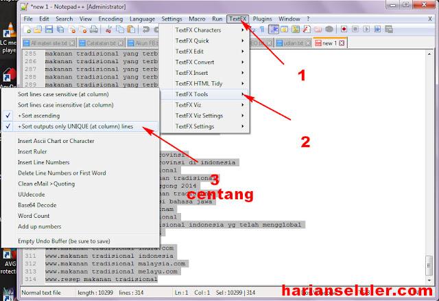 Cara Menghapus Dublicate Keyword notepad ++