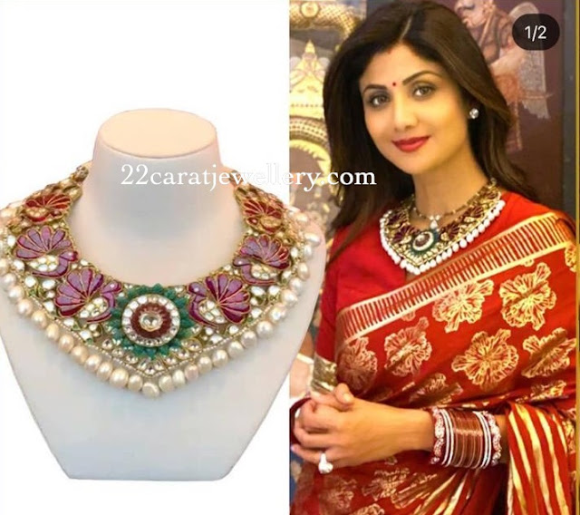 Shilpa Shetty Flat Diamond Ruby Choker