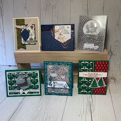 Samples of the six holiday cards we're making duringthe Sept 22 2019 Card Class