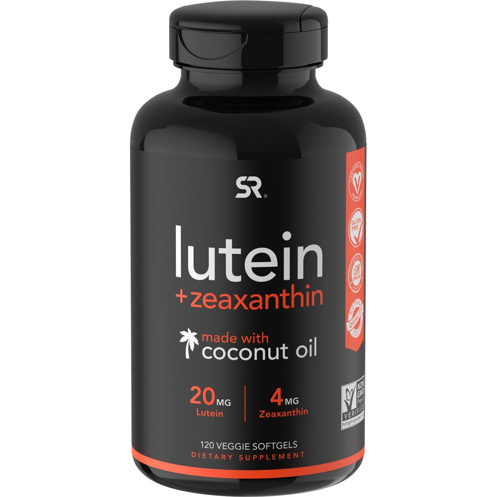 Sports Research, лютеин и зеаксантин с кокосовым маслом, 120 вегетарианских мягких таблеток