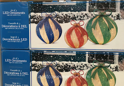 Make your home more festive with the Set of 3 Oversized LED Ornaments
