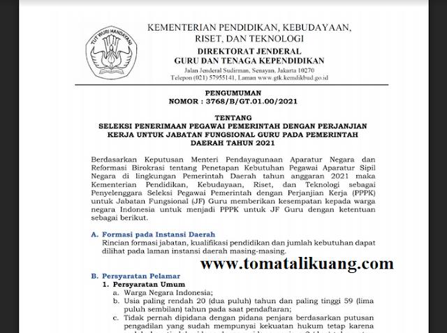 jadwal pendaftaran seleksi pppk guru tahun 2021 tomatalikuang.com
