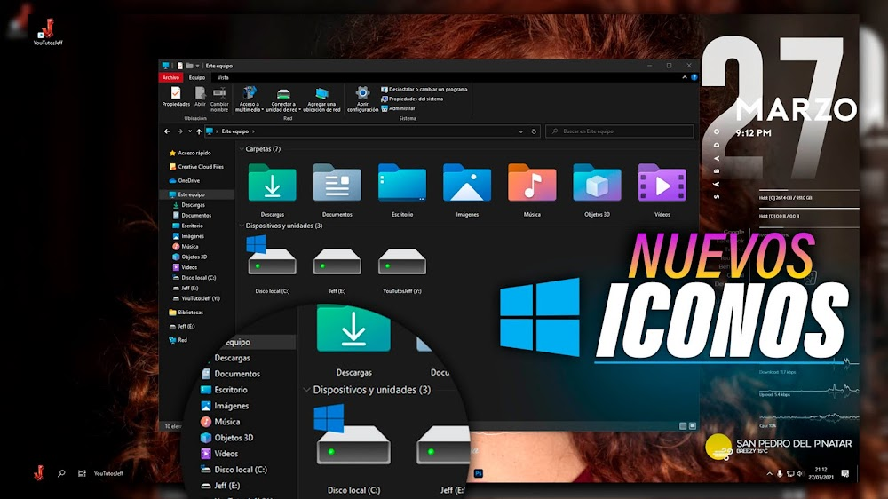 Poner NUEVOS ICONOS Windows 10 2021