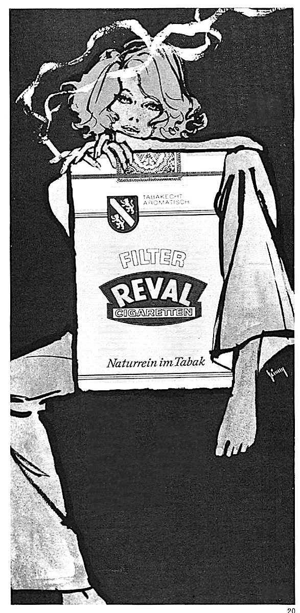 a 1975 a Gerd Grimm illustration for Revel Cigaretten, a sexy woman smoking