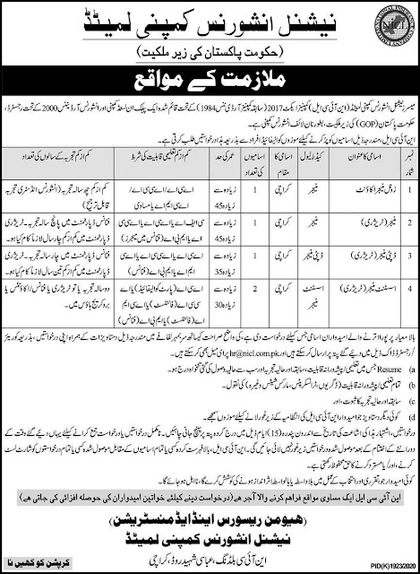 National Insurance Company Pakistan Jobs 2021