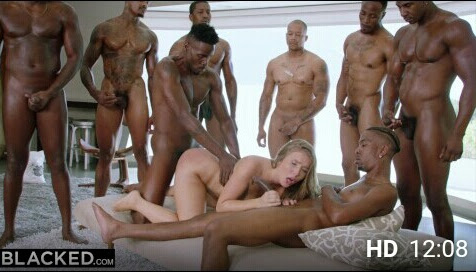 PornHub • Lena Paul in her first interracial gangbang