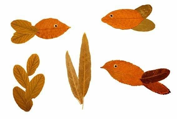 peces hechos con hojas secas de otoño
