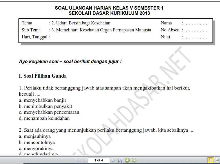 Soal Ulangan Harian K 13 Kelas 5 Tema 2 Subtema 3 Dan Kunci Jawaban Sekolahdasar Net