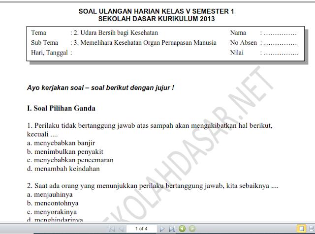 Soal Ulangan Harian K-13 Kelas 5 Tema 2 Subtema 3 dan Kunci Jawaban