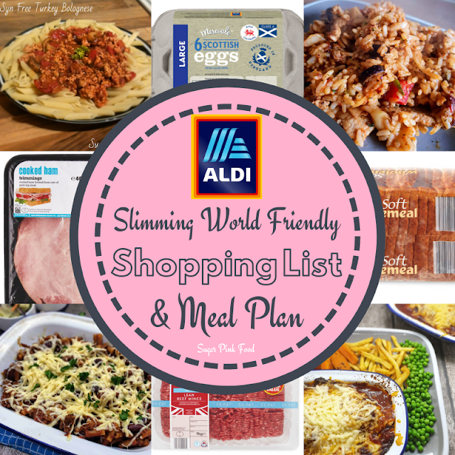 Slimming World meal plan 7 day with shopping list aldi
