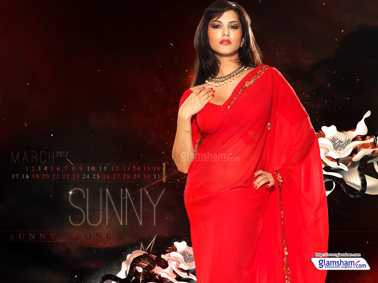 Kashmira Shah Sunny Leone Photos In Sexy Red Saree