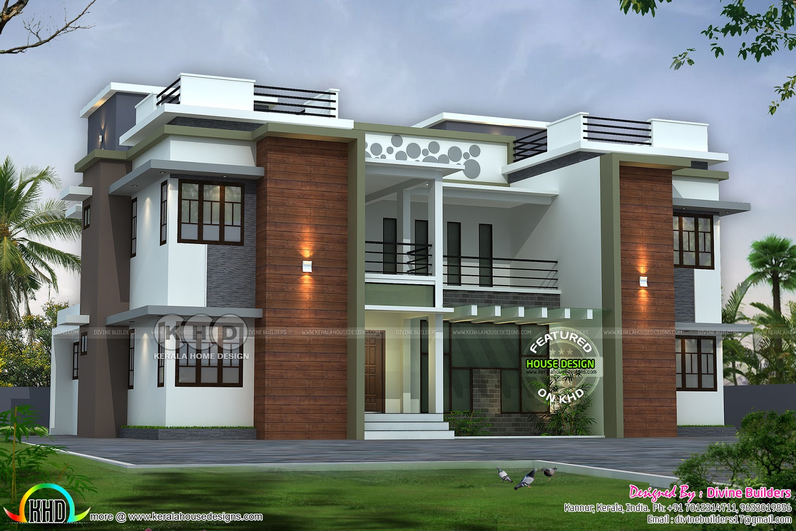 6 bedroom flat roof home design - Kerala home design and ...