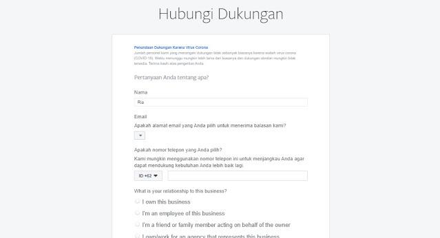 form isian dukungan facebook dikirim ke email