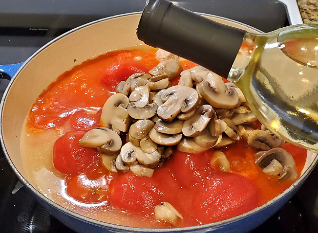 this is the start of what will be a boscaiola Italian mushroom pork tomato sauce