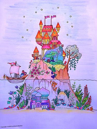 A page I coloured from Johanna Basford's free Flourish book