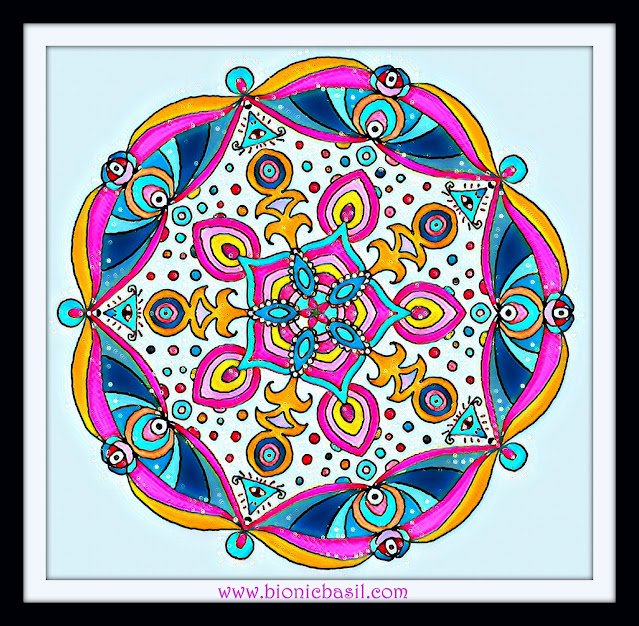 Mandalas on Monday ©BionicBasil® Colouring With Cats Mandala #109 coloured by Cathrine Garnell