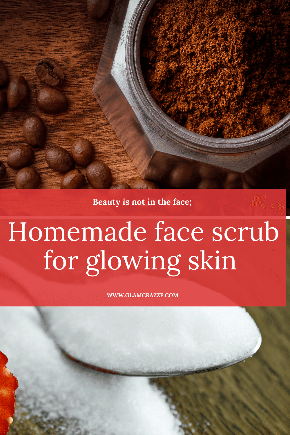 Homemade face scrub for glowing skin using coffee
