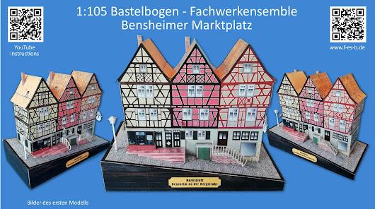 Kostenloses Kartonmodell des Fachwerkensembles auf dem Bensheimer Marktplatz im Maßstab 1:105