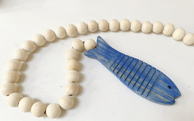 blue fish and natural beads