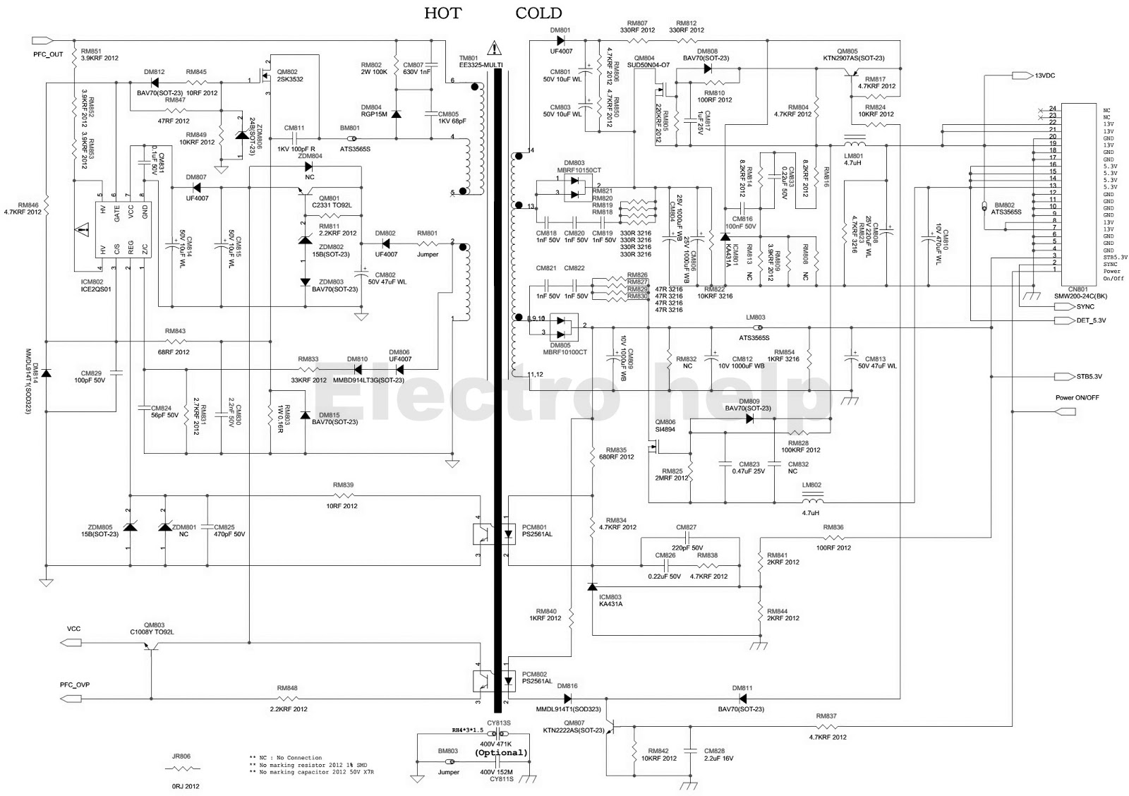 samsung lcd tv smps schematic bn44 00197 pfc standby and multi bl inverter [ 1600 x 1128 Pixel ]