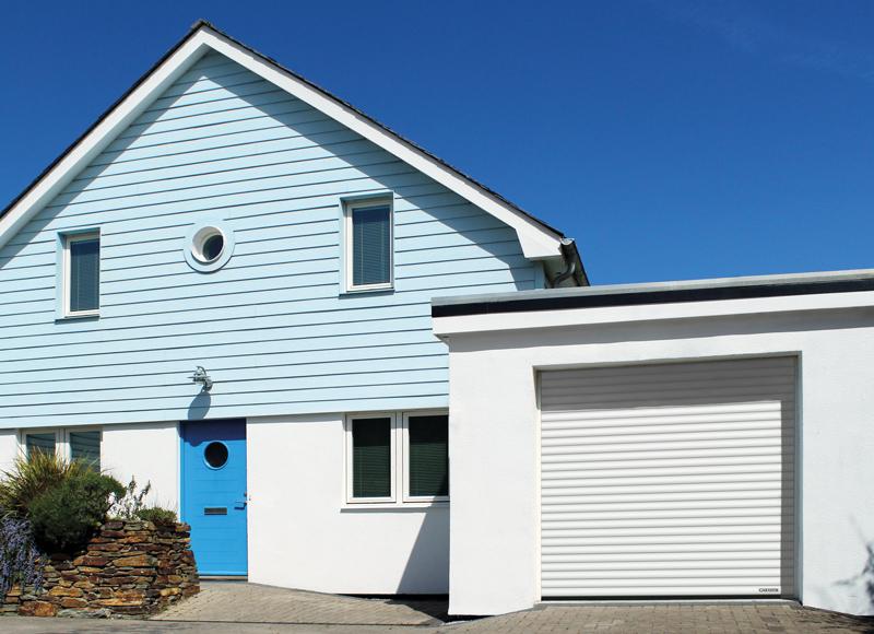 GaraGlide roller garage door in Traffic White (RAL 9016)