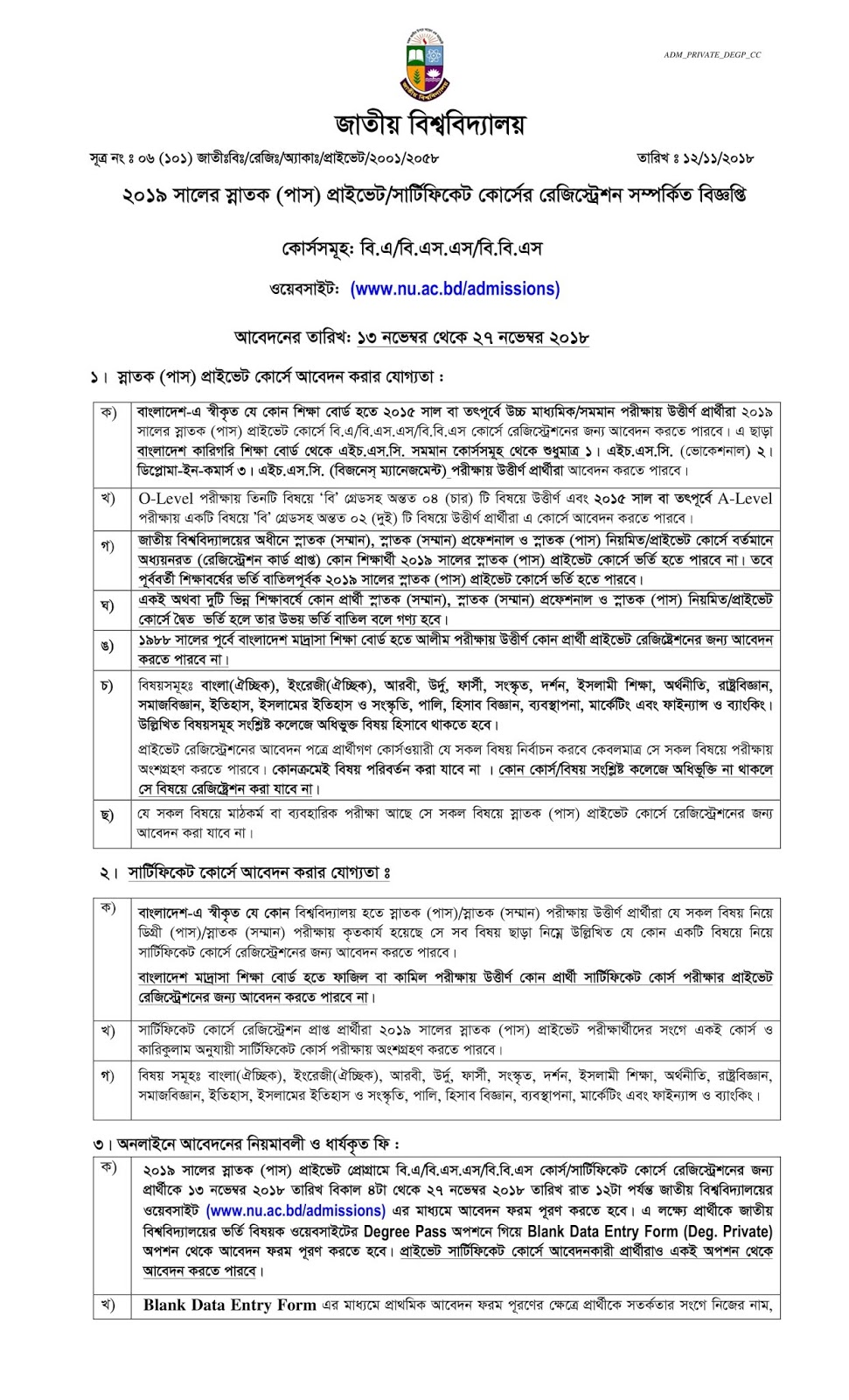 Circular for 1st year degree (pass) private/certificate course registration 2018-2019