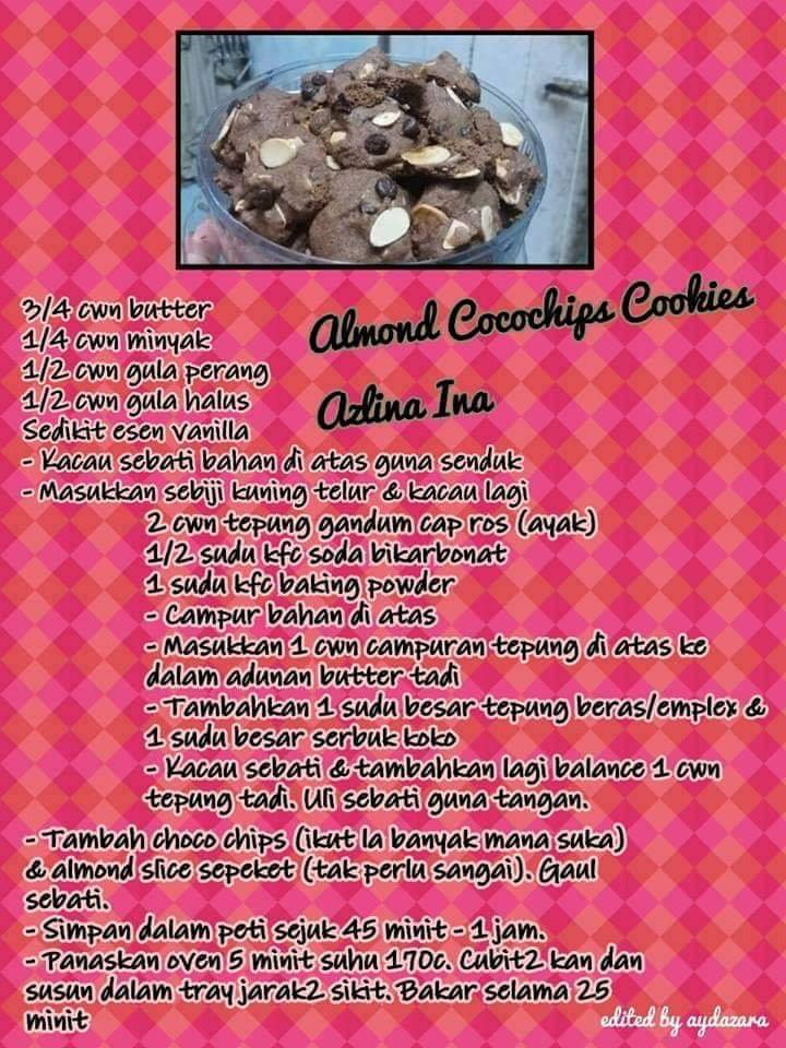 resepi almond cocochips cookies