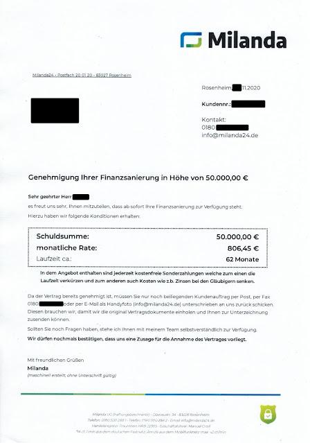 Genehmigung Ihrer Finanzsanierung / Milanda UG (haftungsbeschränkt) / Nov 2020