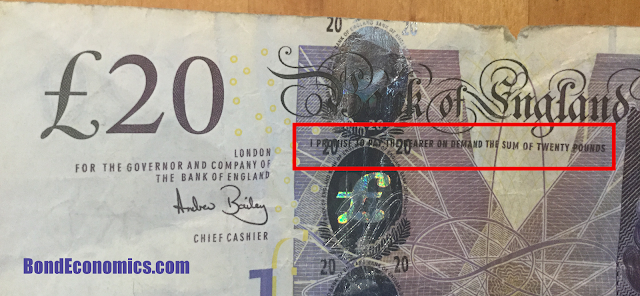 Photo: 20 pound note, with IOU phrasing.