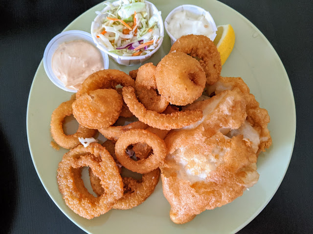Tony's Fish and Osyter Cafe Halibut and Onion Rings