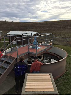 two people looking into a wastewater treatment pool with mechanical filters and equipment around.