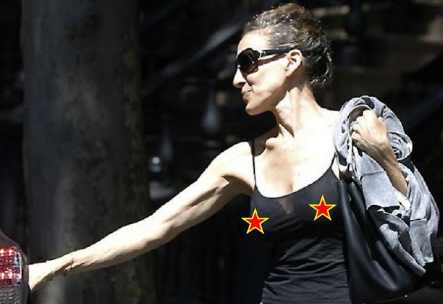 Sarah Jessica Parker com roupa transparente (Imagem: Reprodução/Internet)