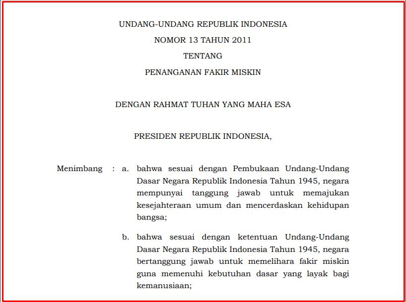 Undang-Undang Republik Indonesia Nomor 13 Tahun 2011 Tentang Penanganan Fakir Miskin