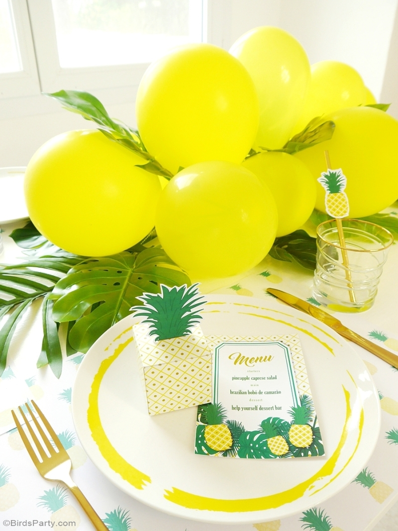 Party Like a Pineapple Birthday Dinner Party Ideas & Tablescape - BirdsParty.com