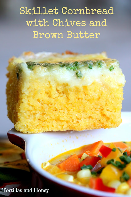 Skillet Cornbread with Chives and Brown Butter (#SoupSwapParty)