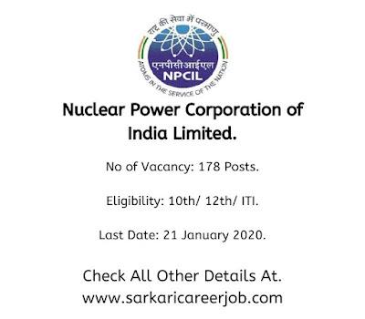 NPCIL Recruitment 2020 various post government job vacancies.
