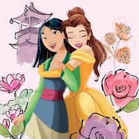 Belle hugs Mulan from behind