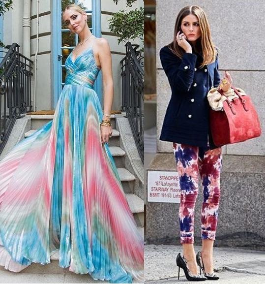 Chiara Ferragni, Olivia Palermo usando tie dye