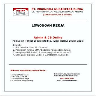 Loker Medan Terbaru SMA SMK Juli 2020 PT Indonesia Nusantara Dunia