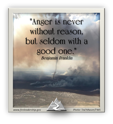 """Anger is never without reason,  but seldom with a good one."" Benjamin Franklin (Fire whirl picture taken from the air)"