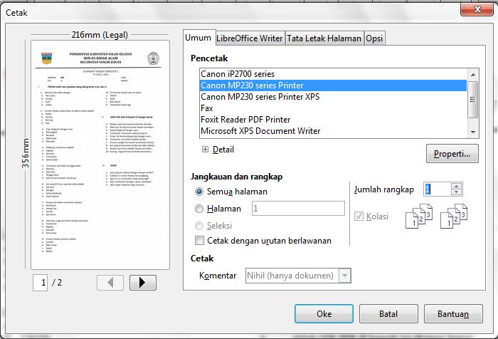 cara memprint file odf libre office pada windows