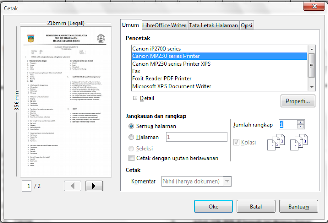 cara memprint file odf libre office pada windows