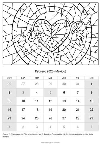 Calendario febrero 2020 cupido de méxico